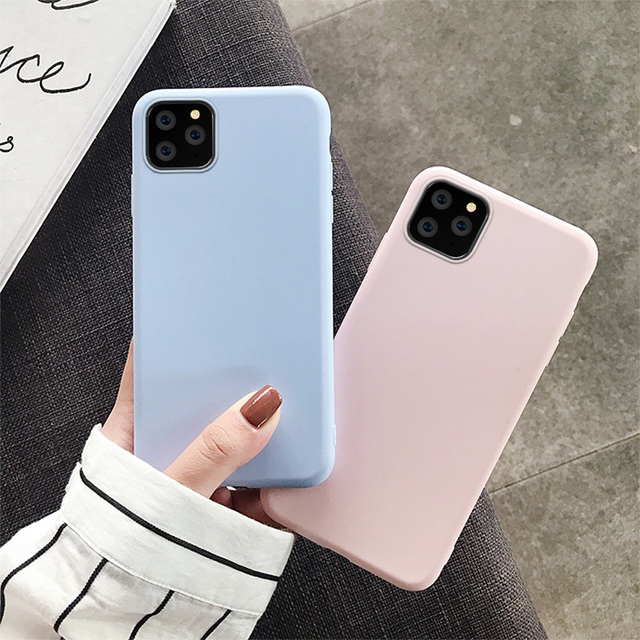 Fashion Candy Color Case for iPhone 11 Case Cover iPhone 11 Pro Max 6 6S 7 8 Plus X XR XS Max 5 5S SE Soft Silicone Cover Cases