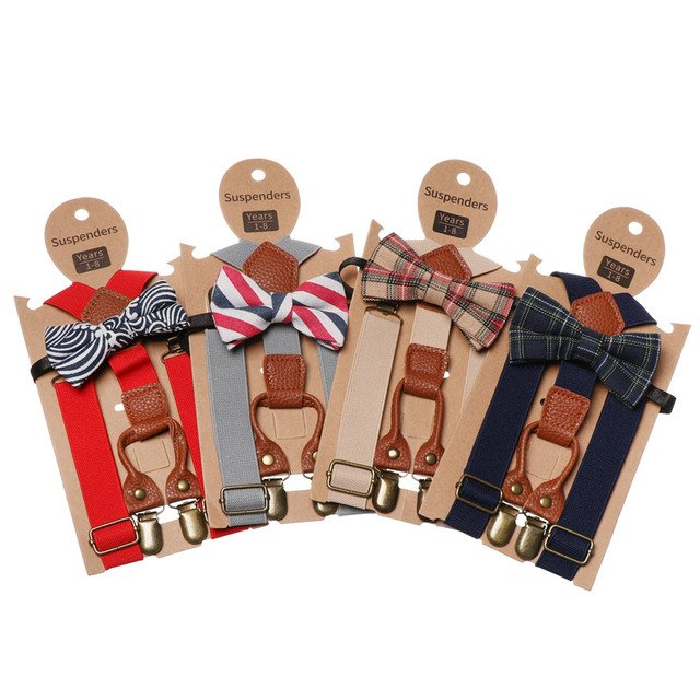 New Kids High Elastic Elastic BowKnot Toddler Wedding Matching Braces Suspenders Baby Boys Fashion Luxury Bow Tie Sets