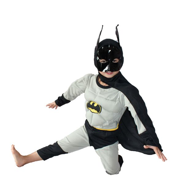 Gray And black 3-7 years Party Kids Comic Muscle Halloween Costume,Boy roll play clothing Long sleeve T-shirt