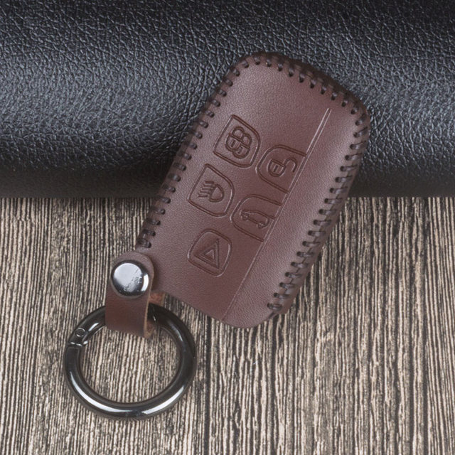 Leather Car Key Case Cover For Land Rover Range Rover Evoque Freelander 2 Discovery 2 3 4 For Jaguar XF XJ XJL XE XFR XKR LR4 X8