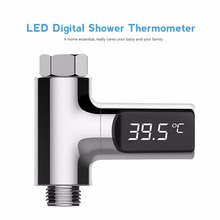 LED Display Celsius Water Temperature Meter Monitor Electricity Shower Thermometer 360 Degrees Rotation Flow Self-Generating