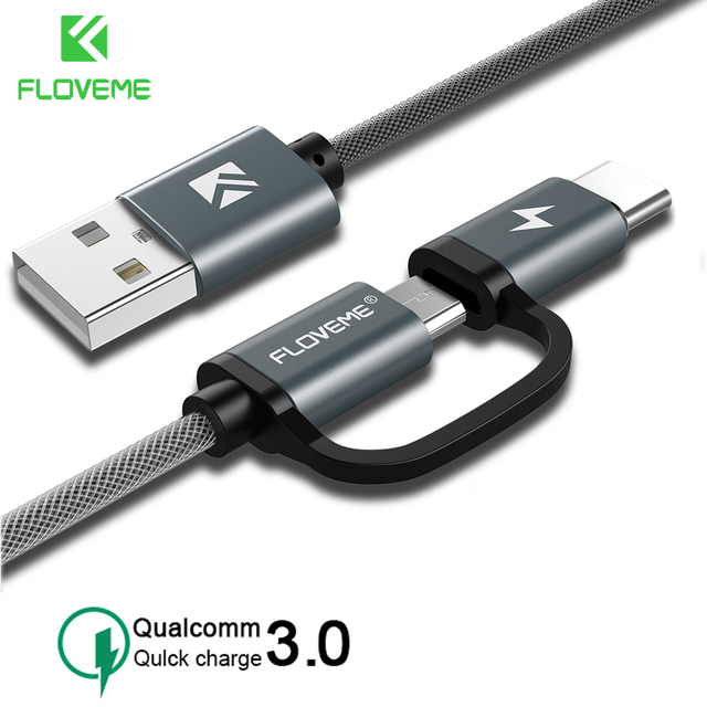 FLOVEME QC 3.0 USB Type C Cable for Samsung S10 S9 Plus 2 in 1 Fast Charging Micro USB Cable for Xiaomi Huawei Android USB Cable