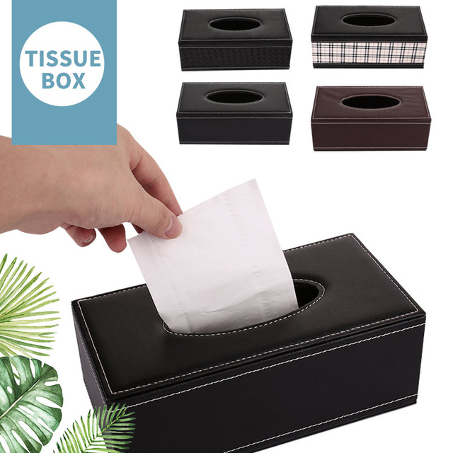 Leather Storage Box Table Space Saver Large Volume Office Desktop Paper Towel Box Leather Tissue Box Household Supplies