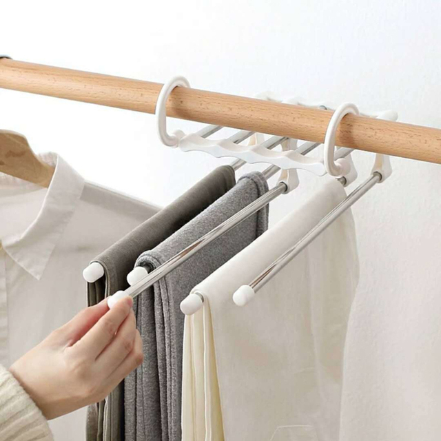New Arrival Portable Clothes Hanger Multifunctional Pants Rack Stainless Steel Trousers Holder Clothes Organizer Storage Rod