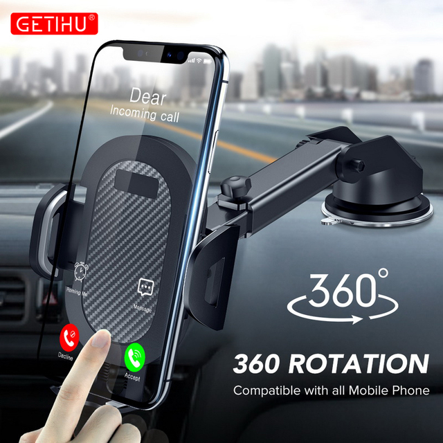 GETIHU Suction Car Phone Holder Mobile Phone Holder Stand in Car No Magnetic GPS Support Mount For iPhone 11 Pro Xiaomi Samsung