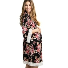 New Women Clothes Ladies Flora Lace Short Maternity Pregnancy Sleepwear Nursing Night Robes Tops Nightwear Maternity Dress Comfy