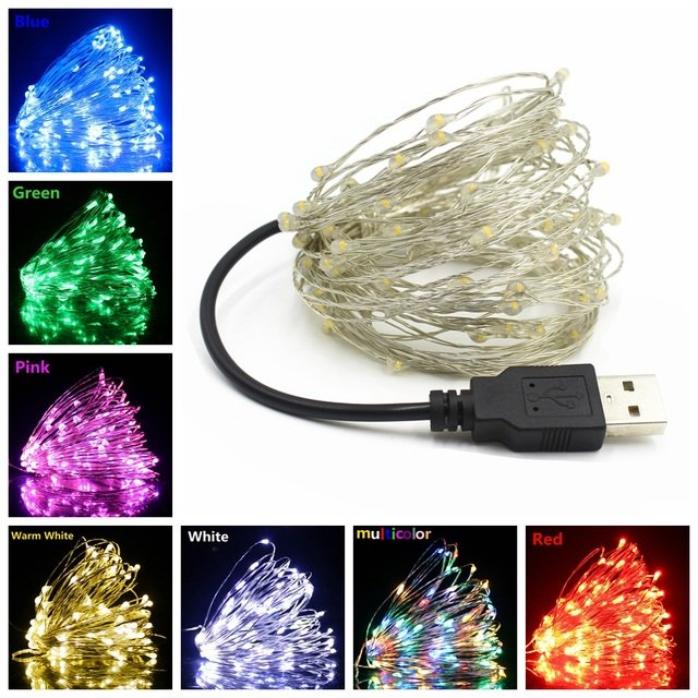2/5/10M USB LED String Lights Copper Silver Wire Garland Light Waterproof Fairy Lights For Christmas Wedding Party Decoration