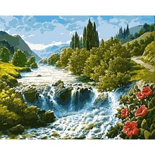 GATYZTORY Paint By Number Canvas Painting Kits Home Decor DIY Frame Painting By Numbers Nature Landscape on canvas Room Decorat