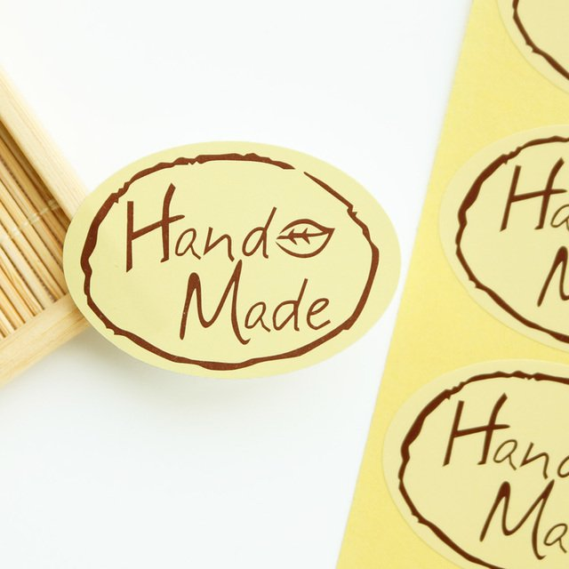 100pcs Brown Elliptic Kraft Sticker Hand Made Paper Seal Sticker for Baking Chocolate Gift Packaging Biscuit Bag Box Label