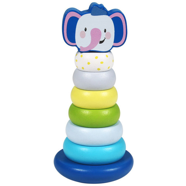 Baby Wooden Toys Stacking Ring Tower Stapelring Blocks Wooden Stacking Rings Toy With Elephants Stacking Tower Wood Baby Toys#40