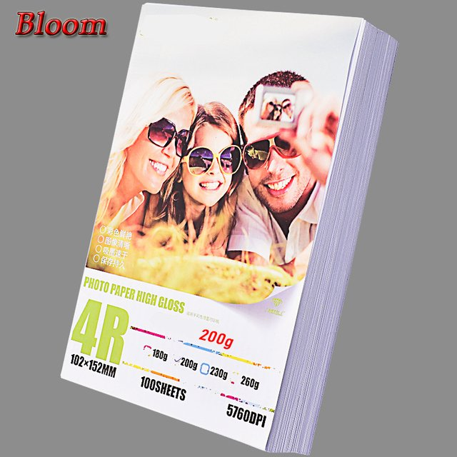 inkjet printer photo paper of 100 Sheets Glossy 4R 4x6 printing papers for All Models of printers