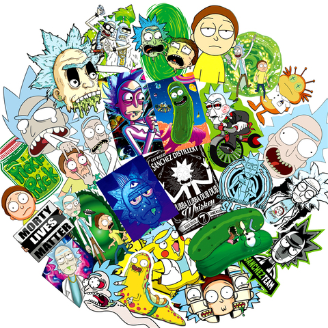 50pcs//Pack Waterproof Cartoon Rick And Morty Stickers Skateboard Suitcase Guitar