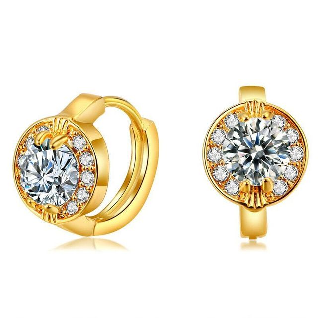 MxGxFam Fashion 24 k Yellow Gold color Hoop Earrings For Women Round AAA+ Cubic Zircon for Factory Good Quality