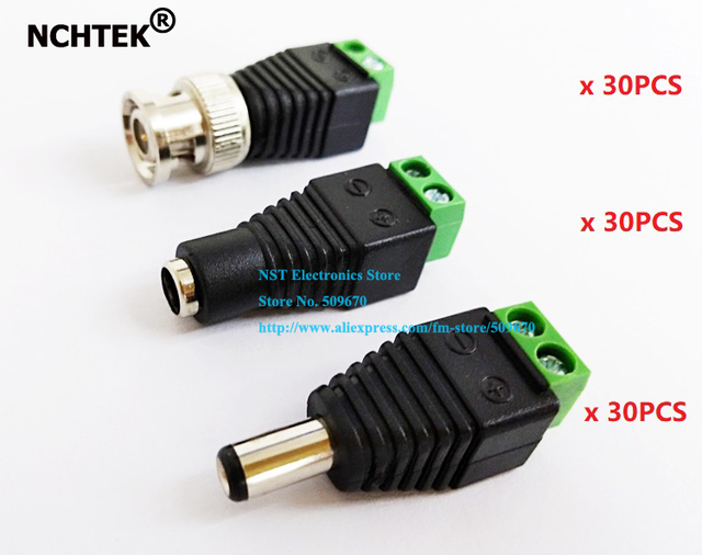 NCHTEK CAT5 to BNC Coaxial Male connector plus 2.1mm Male Female DC Power Connector/Free shipping/30Sets
