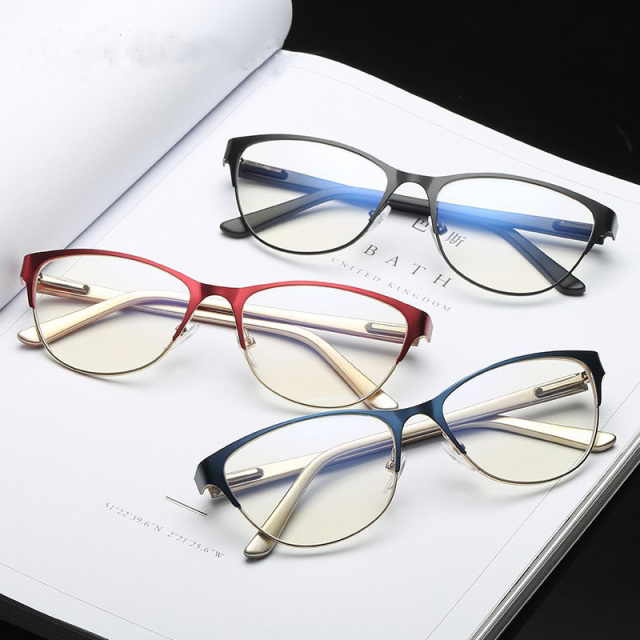 Metal Women Metal Glasses Frame Cat Eye Glasses Ladies Myopia Optical Clear Eyeglasses Frame Brand Designer Vintage Metal Female