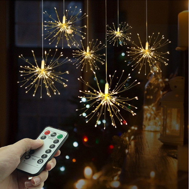 Firework Light Copper Lamps Wire Fairy LED String Lights Festival Hanging Starburst String Lights Xmas Party Decor Lamp