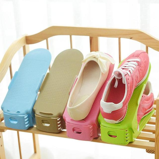 Double Storage Shoe Rack Durable Adjustable Shoe Organizer Layer Footwear Support Slot Space Saver Home Shoes Shelf Organizer