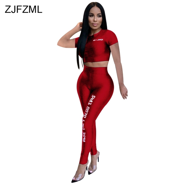 Women Fitness Sporting Two Piece Set Letter Print Club Outfit Short Sleeve Crop Top And  High Waist Pant Sexy 2 Piece Sweatsuit