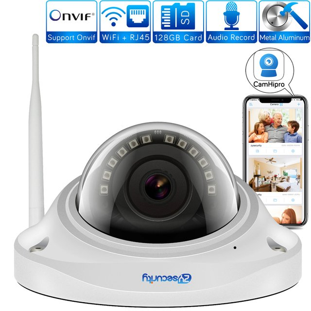 1080p Wifi Dome Camera Vandalproof Onvif 20m Night Vision SD Card Two Way Audio Wireless Home Security CCTV IP Camera CamHipro