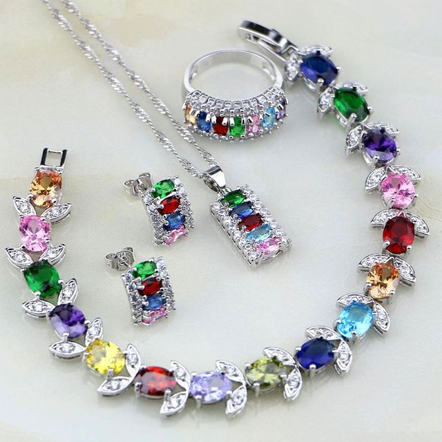 Multicolor 925 Sterling Silver Jewelry Set Mystic White CZ Jewelry Sets For Women Necklace/Earrings/Bracelet/Pendant/Ring