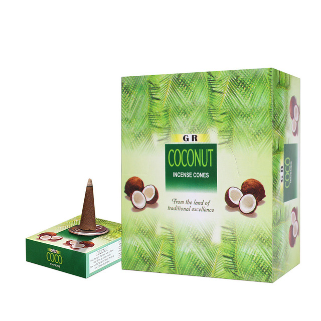High Quality Indian Incense Cones Coconut Scent for Home Tower Cone Incense + Incense Base Dropshipping Bulk Sale Smoke Candle