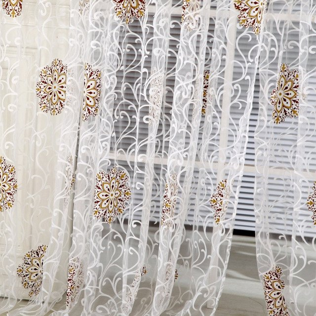Room Floral Tulle Window Curtain Drape Panel Decal Scarf Valances Door Decor For Living Room Curtains