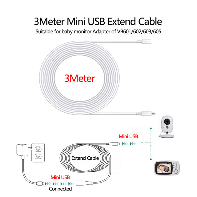 3 Meter Extension Cable Cord for Baby Monitor Power Adapter Universal Suitable for VB601/603/605/607 Camera Mini USB Connector