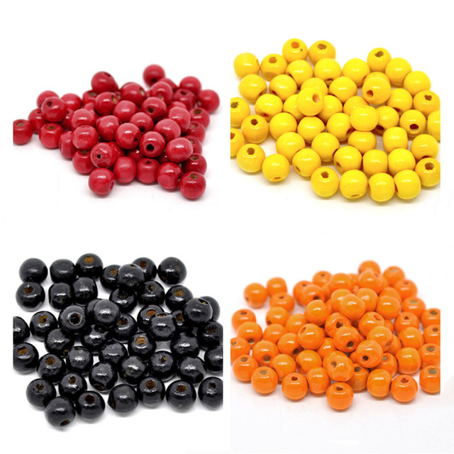 DoreenBeads 200PCs Color Wooden Beads Dyed Handmade Round Wood Loose Spacer Beads for DIY Making Bracelet Jewelry 10x9mm, yiwu