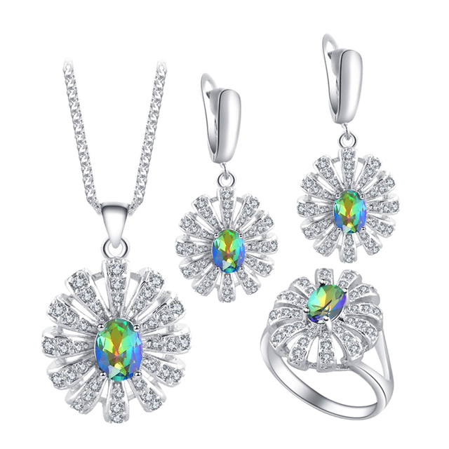 ROLILASON Fashion Jeweler Sets for Women Gift Mystic Zircon silver plated Stamped Sets Earring Necklace Pendant Rings JS678