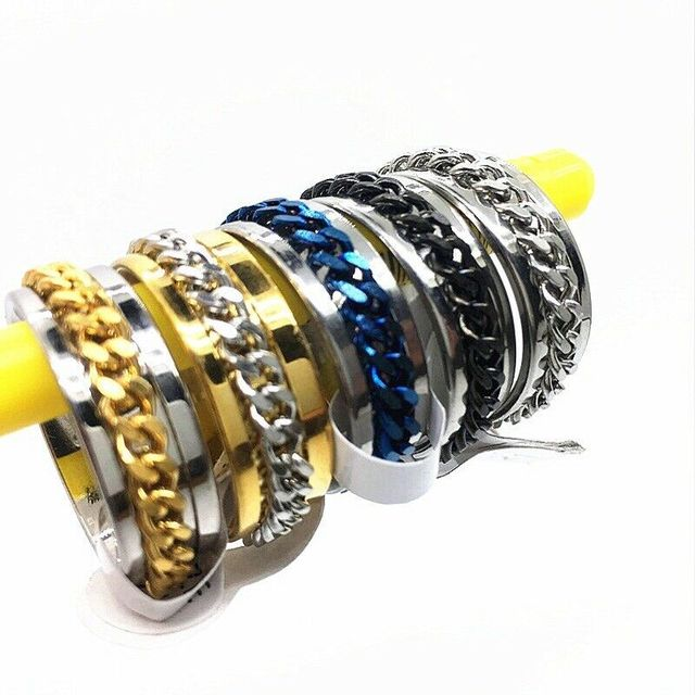 MIXMAX 20pcs/Lot Mix Men's Stainless Steel Rings women Chain Spinner Jewelry wholesale lots bulk dropshipping