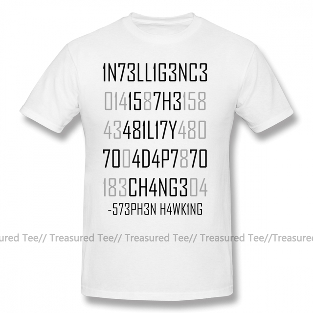 Physics T Shirt Adapt Or Die Encoded T-Shirt Oversized Streetwear Tee Shirt 100 Cotton Short Sleeve Fun Print Male Tshirt