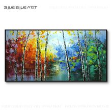 Professional Artist Hand-painted Colorful Abstract Birch Landscape Painting on Canvas Rich Colors Knife Forest Acrylic Painting