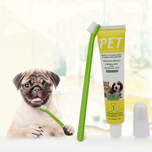 Beef Flavor Pet Toothpaste and Toothbrush Set Pet Teeth Cleaning Supplies Dog Healthy Edible Toothpaste for Oral Cleaning Care