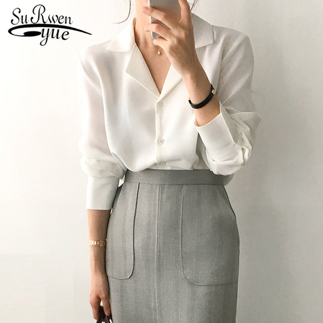 Solid White Chiffon Blouse Office Shirt Womens Tops and Blouses  Blusas Mujer De Moda 2019 Long Sleeve Women Clothes 7686 50
