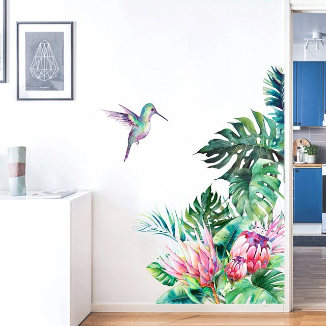 Tropical Leaves Flowers Bird Wall Stickers Bedroom Living Room Decoration Mural Home Decor Decals Removable Stickers Wallpaper Buy Inexpensively In The Online Store With Delivery Price Comparison Specifications Photos I think now is the time to find inspiration from a lot of greenery as a lifestyle that includes many houseplants for something more tropical, even this makes me like a holiday at the beach. aliradar