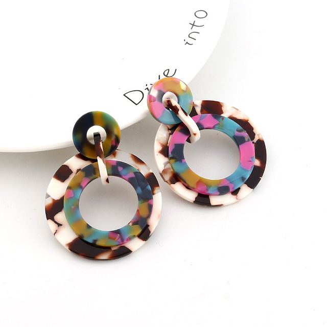 2019 Boho Round Acrylic Acetate Earrings Colorful Hanging Statement Pendientes Drop Earrings Women Geometry Circle Resin Jewelry