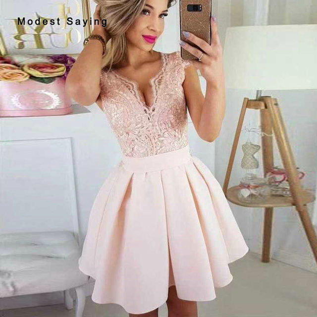 Elegant Pink A-Line V Neck Lace Cocktail Dresses 2020 Cap Sleeves Short Graduation Homecoming Party Prom Gowns robe cocktail