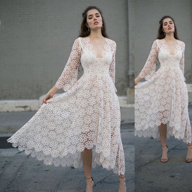 BacklakeGirls 2020 White Lace Cut Out Sexy V Neck Full Sleeves A Line Cocktail Dresses Tea Length Women Cocktail Party Dress