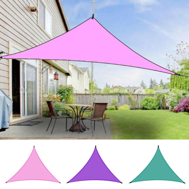 95% Uv Resistance Garden Cloth Cover Triangle Sun Block Sail Canopy Awning Shelter Outdoor Canopy Family Camping Tent 3*3*3m