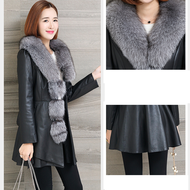 plus size 4XL Big Collar patchwork Overcoat Women's Winter New Coat long Sleeve Female Jackets PU Leather jacket faux fur Coats