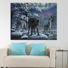 DIY Painting By Numbers Hand Paint Wolf Animals Oil Pictures Wall Art Waterfall Natural Landscape Coloring On Canvas Home Decor