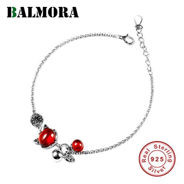 BALMORA Solid 925 Sterling Silver Fox Wrap Bracelets For Women Lady Party Gift Artificial Garnet Cute Animal Silver Jewelry