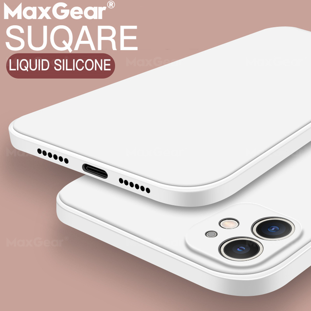 New Square Liquid Silicone Case For iPhone 11 Pro Max XS X XR Soft Original Solid Color Cover For iPhone 12 SE 2020 7 8 Plus 6 S