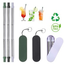 Portable Drinking Reusable Metal Straws Stainless Steel With Storage Case Rope Bar Beer Party Kitchen Eco Friendly Accessories