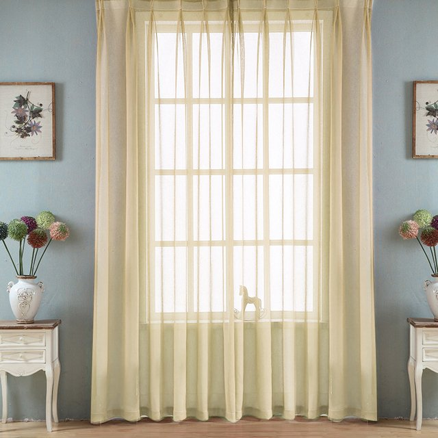 Europe Solid Color Yarn Curtain Window Tulle Curtains For Living Room Kitchen Bathroom Modern Window Treatments Voile Curtain