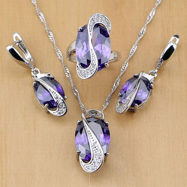 Round 925 Sterling Silver Jewelry Purple Zircon White Birthstones Jewelry Sets For Women Earring/Pendant/Necklace/Ring