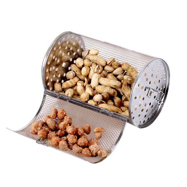Stainless steel oven drum accessories grilled cage rotating oven net barbecue roasted coffee beans nuts walnutLengthen 12X22CM