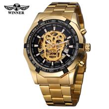 top Brand Luxury Watch Gold Stainless Steel Waterproof Mens Skeleton Watches Transparent Mechanical Male Wristwatch