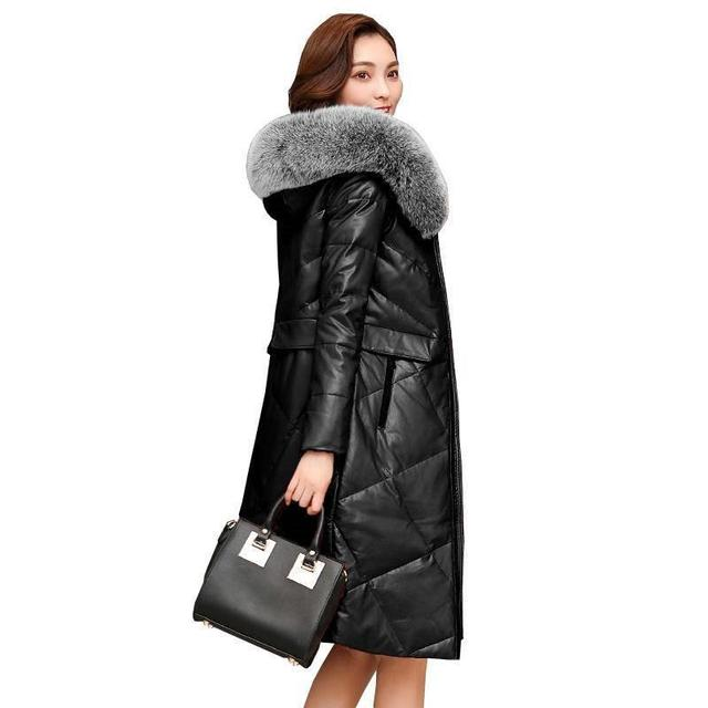 2019 Winter Women Real Fox Fur Hooded Genuine Leather Down Jacket Plus Size 4XL Female Natural Sheepskin Coat Veste Femme R249