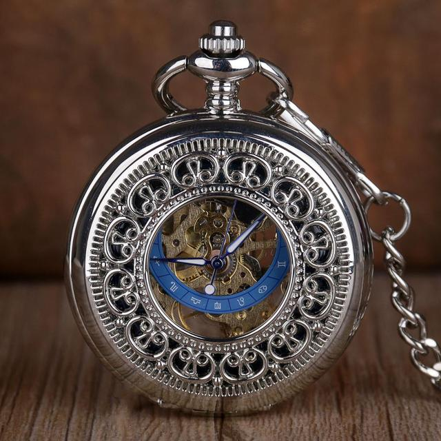 5pc/lot Fashion Sliver Skeleton Mechanical Pocket Watches Men Antique Pocket Watches Hand Wind Pocket & Fob Watch Necklace Chain
